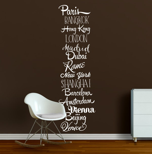 Cities of the World Wall Decal Travel Wall Decor Sticker