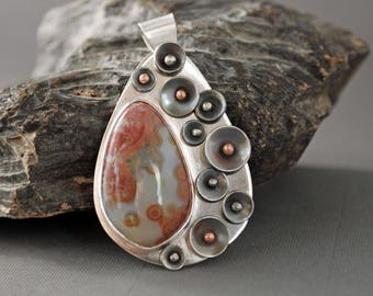 Silver Ocean Jasper Pendant with Riveted Discs  J-2182
