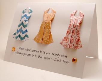 Origami Dress BreakUp Card (Mark Twain Quote, Blue Orange Red)
