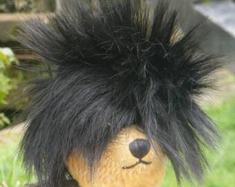 Doll's Kemper Wig - Modacrylic black spiky wig by Kemper Originals to fit small doll, teddy bear or similar toy..