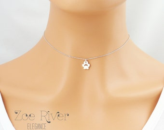 Dainty paw print choker.  Tiny silver or gold paw print choker necklace