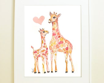 Baby Giraffe with Momma, Original Watercolor Print, Baby Nursery
