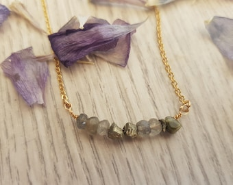 Pyrite  and Labradorite dainty necklace, Free Shipping, Gemstone Bar Necklace, Gift for mom, Healing Crystal Jewelry, Best friend necklace