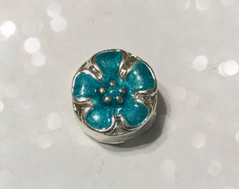 Turquoise Enamel Flower Charm Spacer Bead for Bead Bracelets