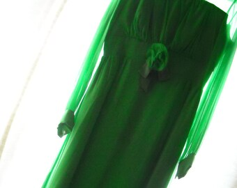 1960s long green dress with sheer neckline and rosette on waist ***Just Reduced!