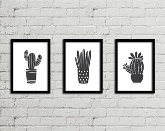 Cactus Print, Cactus Decor, Black And White Succulent Print, Succulent Botanical Print Set, Cactus Wall Art, Succulent Gift Instant Download