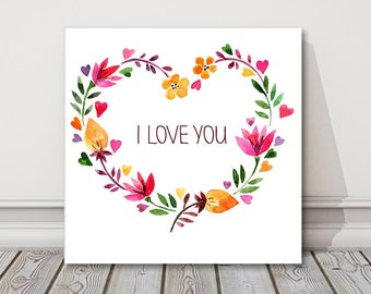 I love you floral heart canvas picture print