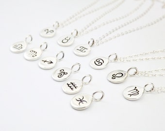 Zodiac Disc Necklace - Sterling Silver Personalized Jewelry - Astrology Signs