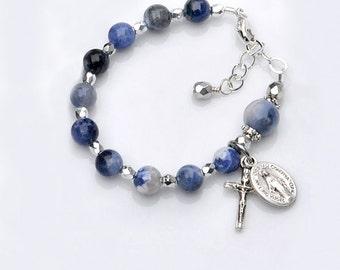 Baptism Bracelet for Baby Boy - Blue Sodalite Gemstone Rosary Bracelet -  Personalized Catholic Christening Baptism Gift for Baby Boy