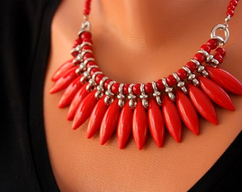 Statement Necklace, Boho Statement Necklace, Summer Fashion, Red Statement Necklace, Bib Necklace, Gift For Her, Statement Jewelry