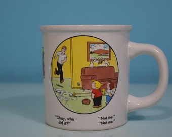 Rare, 1983 Family Circus Collectible Coffee Mug Cup By Clay In Mind, Never Used! Bil Keane Comic Artist