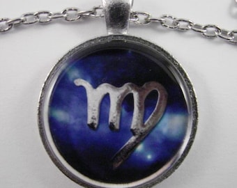 VIRGO ZODIAC SIGN Necklace --  Zodiac jewelry for him and her,  Red or Blue with Silver,  Astrological birthday present, Steampunk Virgo