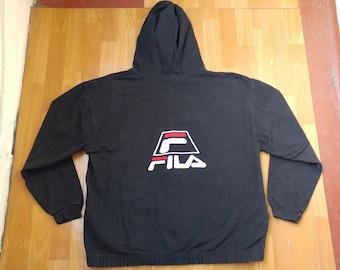 FILA hoodie, vintage black sweatshirt, 90s hip-hop clothing, old school 1990s hip hop shirt, OG, gangsta rap, sewn, size XL