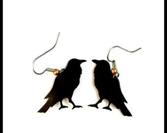 crow earrings, raven earrings, corvids, crow jewelry, rook earrings, raven jewelry, goth crow earrings, blackbird earrings, copper patina