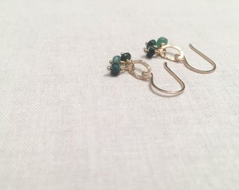 Emerald Trio Drops - 14k Yellow Gold Fill Wire Wrapped Hammered Oval Drop Earrings with Shaded Genuine Faceted Emeralds May Birthstone
