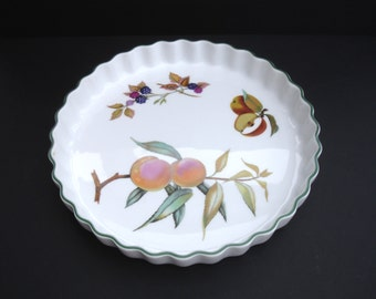 1980s Royal Worcester Evesham Vale Fine Porcelain Fluted Flan Dish Serving Dish Fruit Freezer to Oven to Table Microwave Proof Cookware