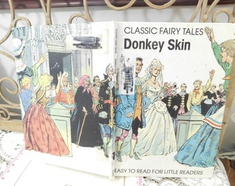 A Classic Fairy Tale Donkey Skin By Barbara Hayes 1984, Vintage Children's Book, X Library Book, Vintage Book,