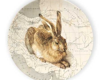 rabbit vintage map plate