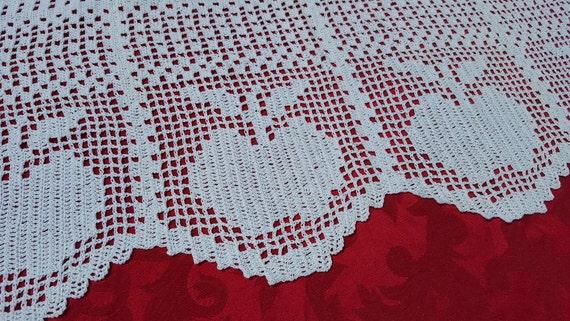 Hand crocheted cafe apple curtain