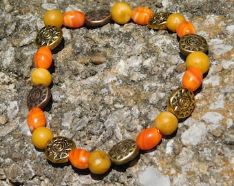 Sun and Natural Bead Bracelet