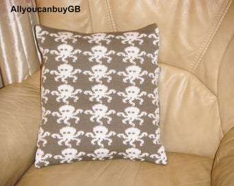 Knitted ''Octopuses'' cushion cover complete with infill. Kids ,,Octopuses'' Cushion. Hand made cover cushion with infill.
