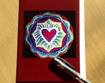 Expanding  Heart Mandala Greeting Card