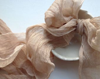 """Crinkle Silk Hand Dyed Taupe Ribbon 3.5"""" Wide"""