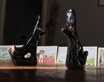 Pair of ceramic hares