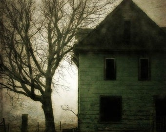25% Memorial Day Sale surreal photography green abandoned house rural decay fine art photography
