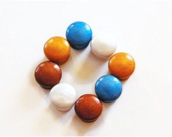 Wooden Knobs Painted Metallic Bronze, Pearl, Gold and Metallic Blue. Bulk Discounts Available.