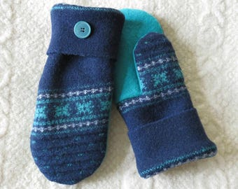 Navy Blue and Teal Nordic Pattern Mittens, Sweater Wool Mittens, Eco-Friendly Lined Felted Wool Mittens
