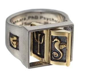 Spinner flip face ring  for men, Unique   custom  personalized Israeli jewelry,made in Israel