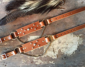 handmade leather boot straps / western boot straps / rockabilly boot straps / brown leather boot straps