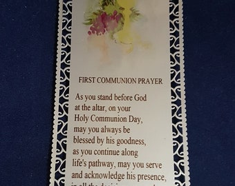 First Communion Gift, First Communion Bookmark, First Communion Prayer, Personalised Communion Gift, Personalized Communion Gift