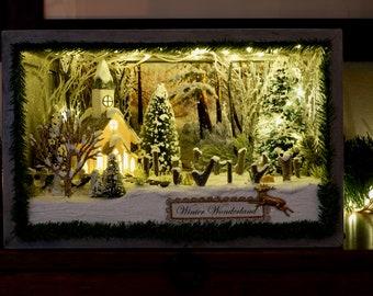 2 Bucks- Christmas Shadowbox Christmas Diorama Vintage Christmas Handmade Christmas Christmas Village Diorama Christmas Decoration
