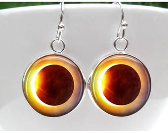 Total Eclipse Earrings Solar Eclipse 2017 Path of totality earrings Solar Eclipse jewelry