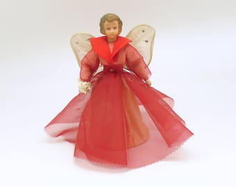 Vintage Christmas Decoration Wax Head Angel