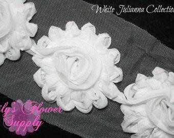 White Shabby Rose Trim - Shabby Flower Trim - Shabby trim - Shabby Flower - Chiffon Flower - Shabby Chic - Rose Trim - Wholesale - Julianna