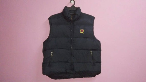 vest sleeveless size tommy puffer zipper large XL logo down up big hilfiger embroidery jacket Vintage nXdYHH