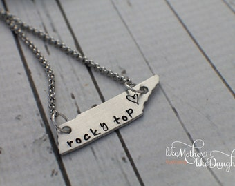 Tennessee Necklace - Custom Hand Stamped Necklace - Tennessee Stamped Rocky Top and heart - Jewelry - Tennessee Jewelry State Jewelry