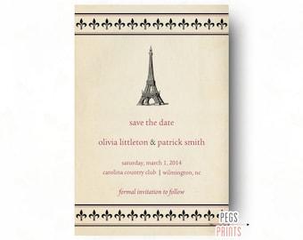 Fleur de Lis Paris Save the Date Card - Fleur de Lis Save the Date - Paris Wedding Announcement - French Save the Date - PRINTABLE