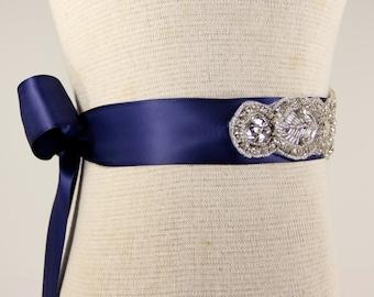 Bridal Sash - Wedding Dress Sash Belt - Royal Blue Rhinestone Crystal Wedding Sash - Royal Blue Bridal Sash - Flower girl Sash - Prom Dress