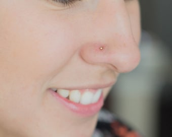 Tiny Nose Ring, Ball Stud Nose Piercing, Dainty Stud Nose Ring, Simple Gold Nose Ring, Ball Nose Ring Stud 22g, Gold Ball Nose Piercing