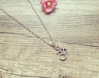 Necklace OM silver, stainless steel, vintage, blogger, statement