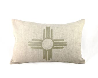 READY TO SHIP: Zia Symbol / New Mexico State Flag Pillow Cover - Natural Linen & Champagne Metallic (add'l colors avail)