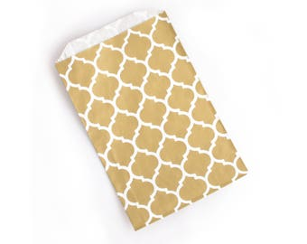 Metallic Gold Paper Bags // Gold Moroccan Favor Bags // Gold Trellis Treat Bags 7.5x5 (Set of 25)