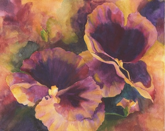 "Print of Pansy in Purples and Yellows 8 x 10"" Watercolor"
