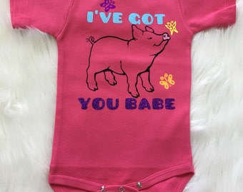 I've Got You Babe Little Pig with Butterflies - Customized Bodysuit Outfit Baby Girl Baby Boy Baseball Raglan Infant Toddler Shirt