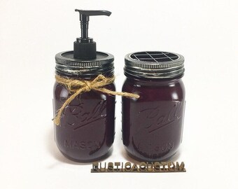 Glossy Mason Jar Soap Dispenser and Toothbrush Holder ~ Eggplant High Gloss