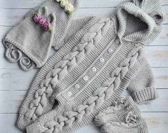 Knitted baby overall with hood Bear Animal Knitted Pramsuit Baby Knitting aran jumpsuit Hooded playsuit
